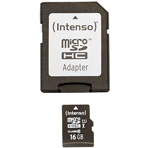 Micro SDHC card, 16 GB, Intenso Class 10 INTENSO 3423470