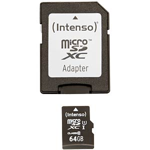 Micro SDXC card, 64 GB, Intenso Class 10 INTENSO 3423490