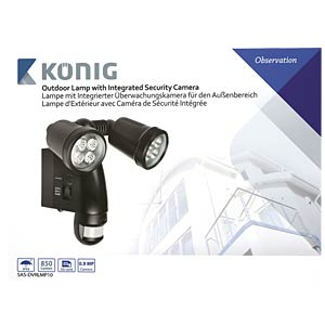 Lamp with built-in camera, motion sensor KÖNIG SAS-DVRLMP10