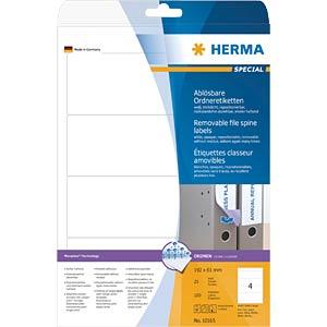 Ordner-Etiketten, 192 x 61 mm, 100 Stück, weiß HERMA 10165