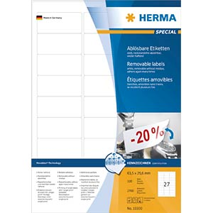 SPECIAL A4 removable labels 100 sheets HERMA 10300