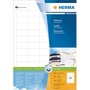 PREMIUM A4 labels 100 sheets/pack HERMA 4270