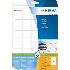Universal-Etiketten, 35,6 x 16,9 mm, 2000 Stück, weiß HERMA 4336