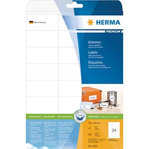 PREMIUM A4 labels 25 sheets/pack HERMA 4360