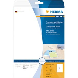 SPECIAL A4 film labels, transparent HERMA 4375