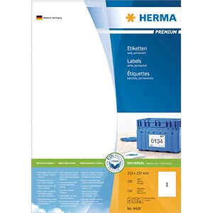 PREMIUM A4 labels 100 sheets/pack HERMA 4428