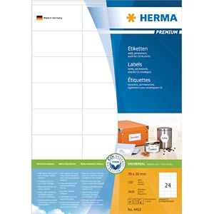 PREMIUM A4 labels 100 sheets/pack HERMA 4453