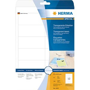 SPECIAL A4 film labels, transparent HERMA 4682
