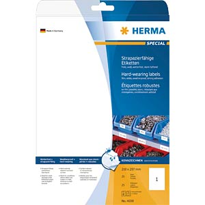 Special A4 film labels, white HERMA 4698