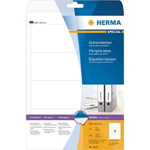 Ordner-Etiketten,192 x 61 mm, 100 Stück, weiß HERMA 5095