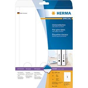 Ordner-Etiketten, 297 x 61 mm, 75 Stück, weiß HERMA 5135