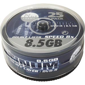 PLATINUM DVD+R DL 8,5 GB, 120 min, 8x, 25-spindle PLATINUM 100040