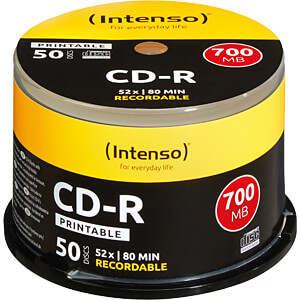 Intenso CD-R 700MB/80min, 50-er, printable INTENSO 1801125
