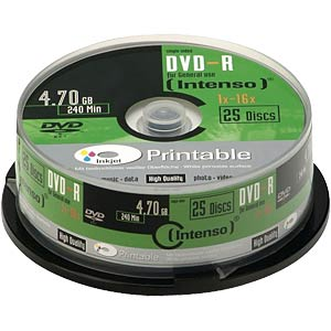 Intenso DVD-R 4.7 GB, 25 discs, printable INTENSO 4801154