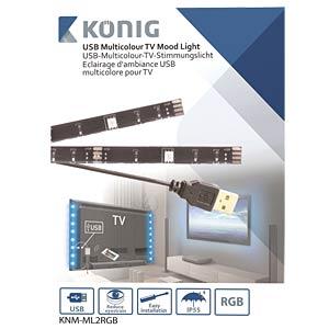 USB TV-Stimmungslicht, RGB, 2x 50 cm KÖNIG KNM-ML2RGB