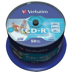 Verbatim CD-R 700MB/80min, 50-er, printable VERBATIM 43309