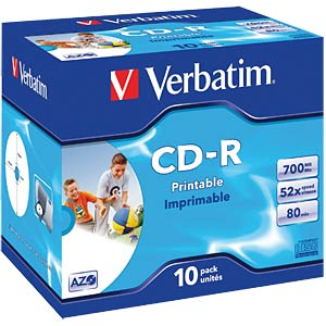 Verbatim CD-R 700 MB/80 min, 10x, printable VERBATIM 43325