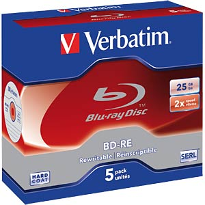 Blu-ray disc/25 GB/rewritable/set of five VERBATIM 43615