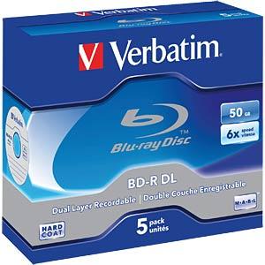 Verbatim Blu-ray BD-R 50 GB, set of five, jewel case VERBATIM 43748