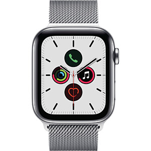 APPLE MWWG2FD/A - Apple Watch S5 Stahl 44mm LTE Silber (Milanaise)