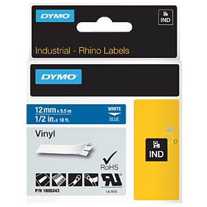 DYMO IND tape, vinyl, 12 mm, white/blue DYMO 1805243
