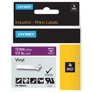 DYMO IND tape, vinyl, 12 mm, white/purple DYMO 1805415