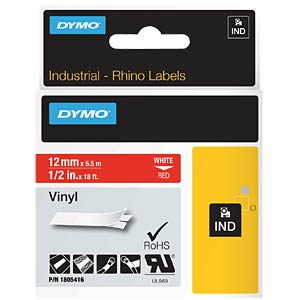 DYMO IND tape, vinyl, 12 mm, white/red DYMO 1805416