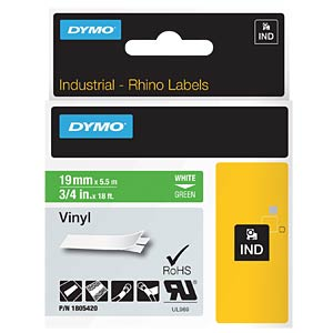 DYMO IND tape, vinyl, 19 mm, white/green DYMO 1805420
