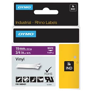 DYMO IND tape, vinyl, 19 mm, white/purple DYMO 1805421
