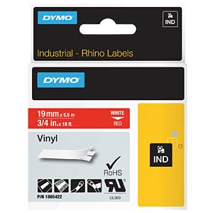 DYMO IND tape, vinyl, 19 mm, white/red DYMO 1805422