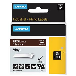 DYMO IND Band Vinyl, 24mm, weiß/braun DYMO 1805424