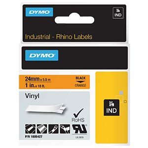 DYMO IND tape, vinyl, 24 mm, black/orange DYMO 1805427