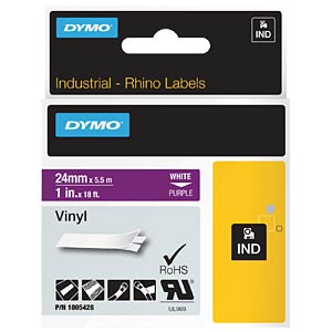 DYMO IND tape, vinyl, 24 mm, white/purple DYMO 1805428