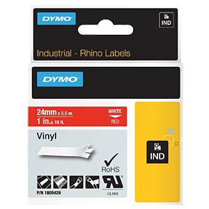 DYMO IND tape, vinyl, 24 mm, white/red DYMO 1805429
