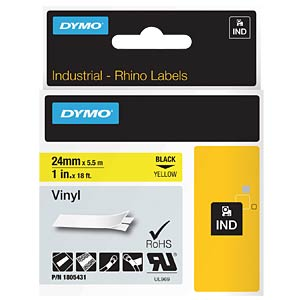 DYMO IND tape, vinyl, 24 mm, black/yellow DYMO 1805431