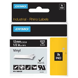 DYMO IND tape, vinyl, 12 mm, white/black DYMO 1805435