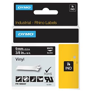 DYMO IND tape, vinyl, 9 mm, white/black DYMO 1805437