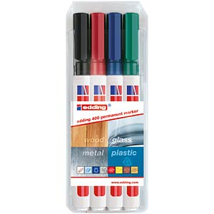 Permanent marker/four assorted colours/1.0 mm EDDING 4-400-4