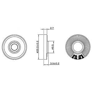 Kunststofflautsprecher, Lötanschluss EKULIT 107050