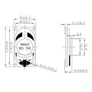 Kleinlautsprecher LSM-S19K, 1W, 8Ohm EKULIT 130006