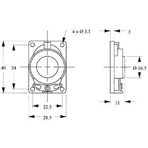 Kunststofflautsprecher, Lötanschluss EKULIT 130025