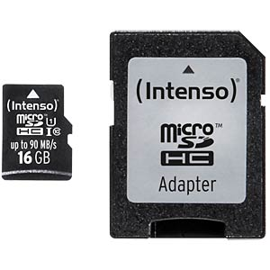 Micro-SDHC-kaart 16GB, Intenso UHS-I professional INTENSO 3433470