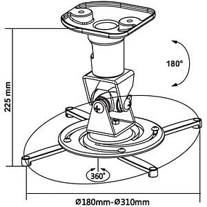 Deckenhalterung für Beamer, schwarz MYWALL H16-1SL