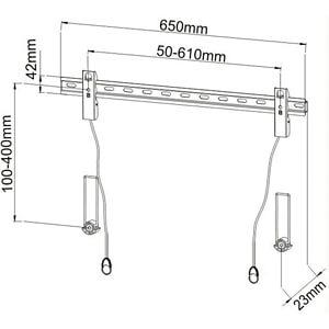 """Wandhalter LCD 40"""" - 65"""" mit Abstandsh., schwarz TECHLY ICA-PLB-139L"""