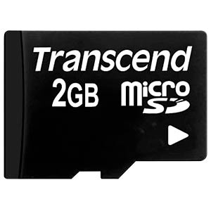 MicroSD-Card 2GB, Transcend, with Adapter TRANSCEND TS2GUSD