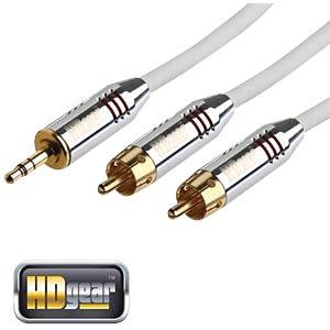 Audio Kabel, 3,5 mm Klinkenstecker auf 2x Cinch Stecker, 5 m HDGEAR AC0120-050