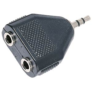 3.5 stereo jack plug to 2x stereo jack connector. FREI