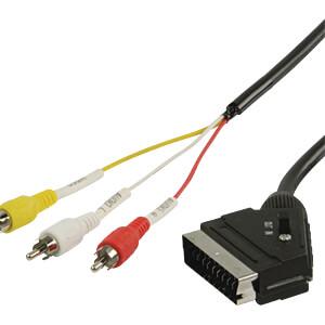 Scart Kabel Scart Stecker mit Schalter auf 3x Cinch Stecker, 2 m VALUELINE VLVP31130B20