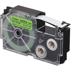 Floureszierendes Band, schwarz auf grün, 12 mm CASIO XR-12FGN