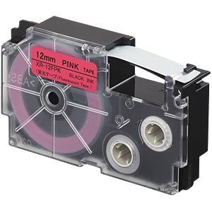 Schriftband, floureszierend, 12 mm x 8 m, schwarz/ pink CASIO XR-12FPK